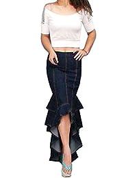 Zicac - Jupe crayon Drapée Taille haute Jean denim extensible
