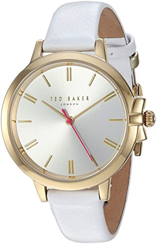 Ted Baker Women's 'RUTH' Quartz Stainless Steel and Leather Casual Watch, Color:White (Model: TE50267008)