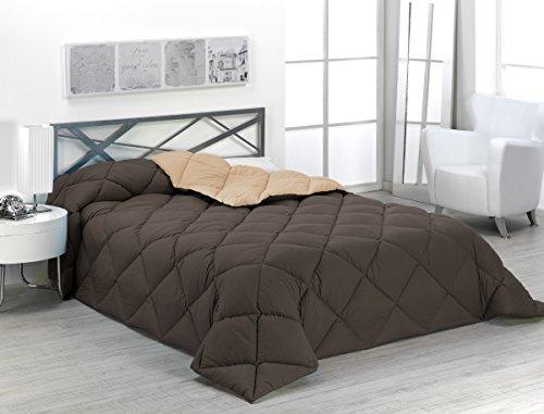 Sabanalia - Edredón nórdico de 400 g reversible (bicolor), para cama de 135/150 cm, color arena y chocolate