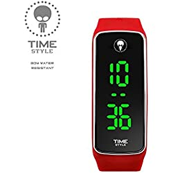 NEW 2017 MODEL - Time Style Red LED Watch - Unisex, Adult & Kids Presented in Stylish Gift Box