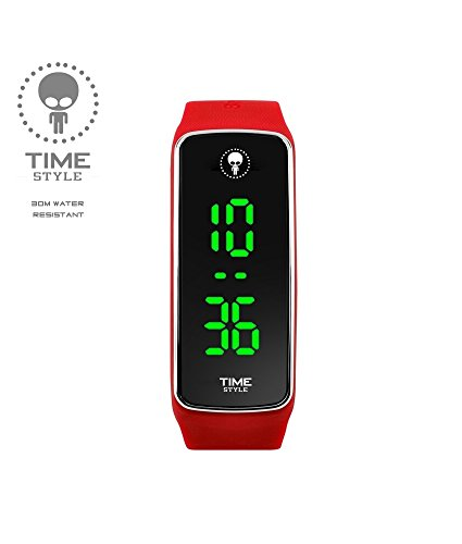 Time-Style-2017-Red-LED-Watch-for-Boys-Girls-Adult-Unisex-Black-Glitter-Logo-Box