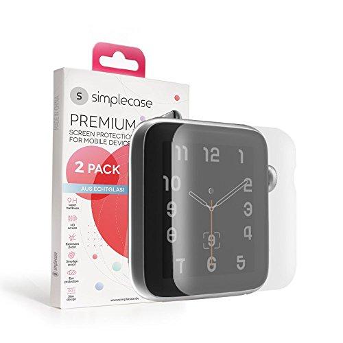 Simplecase Gebogener / Curved Premium Displayschutz Größe: Apple Watch 42mm aus 9H Panzerglas/ Echtglas/ Verbundglas - Deckt Das Ganze Display Ab - Transparent - 1 Stück