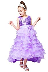 YMING Girls Princess Sequin Tulle Cascading Crystal Organza Red Birthday Dress