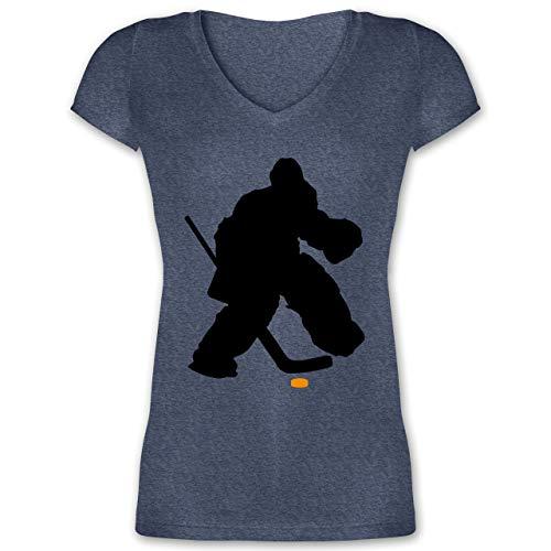 Eishockey - Eishockeytorwart Towart Eishockey - S - Dunkelblau meliert - XO1525 - Damen T-Shirt mit V-Ausschnitt