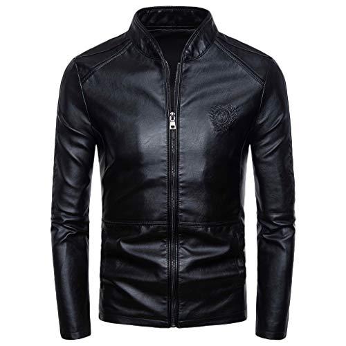 iLPM5 Veste en Cuir Homme Noir Manches Longues 2019 Nouveau Blouson Moto Homme Pas Cher Hiver Chaud Épaisse Mode Mâle Coupe-Vent Vestes Cardigan Manteau Blouson(Noir,2XL)