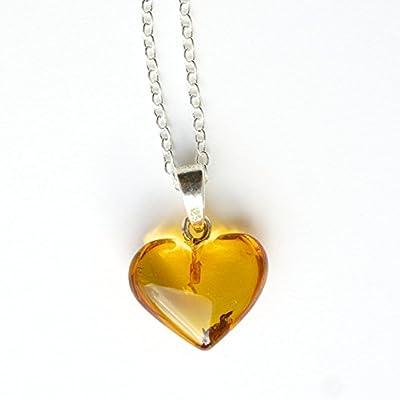 Collier en argent sterling 925 18 pouces avec pendentif coeur ambre