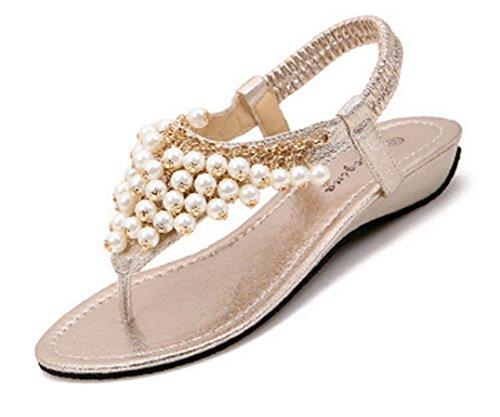 Aisun Damen Süß Metall Künstliche Perlen Elastisches Band Keilabsatz Zehentrenner Sandale Champagner