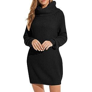 TIMEMEAN Pullover Damen Plus Size Herbst Winter Stehkragen Beiläufige Lose Tasche Lang Sweater