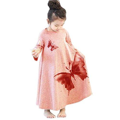 ZOEREA Mädchen-Kind-Kleid-Kleidung Cotton Schmetterling drucken Lang T-shirt Rock Sommer-Strand Maxikleid Sommerkleid (Kleid Kinder Eingefroren)
