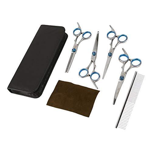 Preisvergleich Produktbild Professionelle Hundepflege Schere Set Gerade & Ausdünnung & 2 Gebogene Schere Schere Friseur Haarschnitt Tools Kit