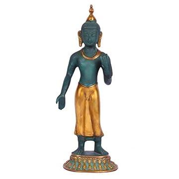 "CraftVatika 14""Grande de pie Estatua de Buda escultura de latón de metal Figura decorativa de buda tibetano Colorful 3"