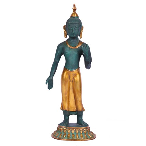 "CraftVatika 14 ""Grande de pie Estatua de Buda escultura de latón de metal Figura decorativa de buda tibetano Colorful"