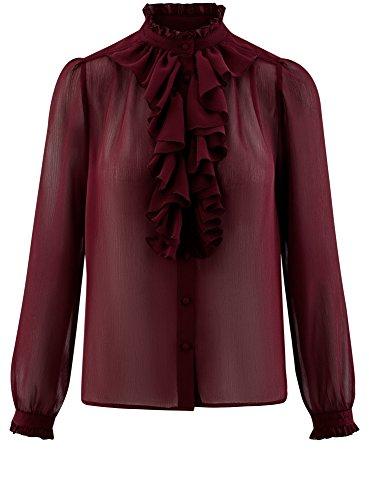 oodji Ultra Damen Bluse mit Volants und Stehkragen Rot (4903N)