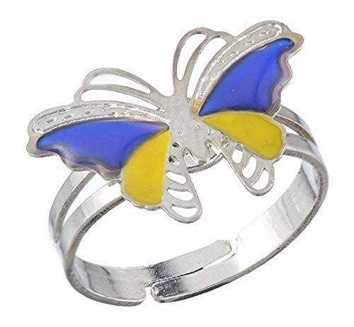 Inception Pro Infinite Magischer Ring Stimmung Ring Stimmung mit Schmetterlingssymbol Farbe ändern abhängig von Stimmung Geschenkidee Mädchen Kinder Einstellbar IT - Kinder Stimmung Ringe