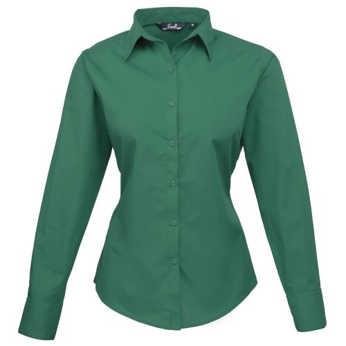 Premier Womens/Ladies Poplin Long Sleeve Blouse / Plain Work Shirt ...