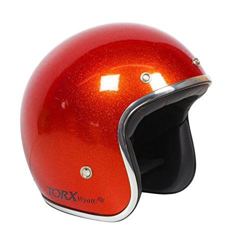 Casco Moto Wyatt Shiny Glitter Red: L