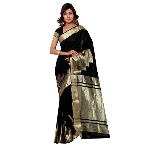Varkala Silk Sarees Women's Cotton Banarasi Saree With Blouse Piece(DM3102BL_Black_Free Size)