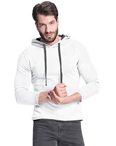 StyleDome Felpa con Cappuccio Top Maglietta Casual Sport Manica Lunga Cotone per Uomo Bianco M