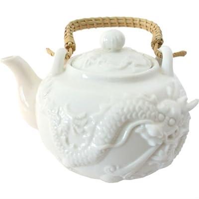 Théière Chinoise en porcelaine Blanche avec Dragon - Livraison gratuite