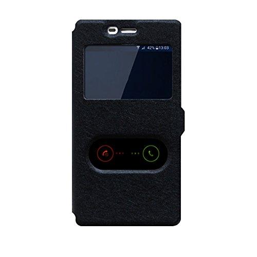 OPPO Joy 3 A11 Hülle, CaseFirst Leder Handyhülle Stoßfest Schutzhülle Brieftasche Hülle Magnet Cover Geldbörse Hülle Anti-kratzer PU Leather Wallet Case mit Supporter (Schwarz)