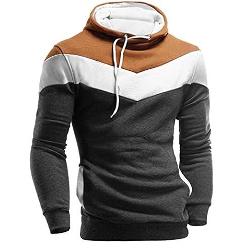 Abrigo Hombre, Amlaiworld Chaqueta con capucha de manga larga retro Hoodie con capucha Outwear (XXXL, Gris