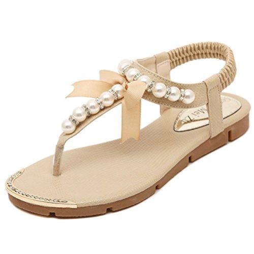Donalworld Frauen Sommer Strand Schuhe T Riemen Flip Flops Schleife Perle Keile Plattform Sandalen, Beige - Beige - Größe: 39 1/3 (Beige Leder-plattform)