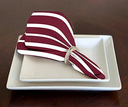 A LuxeHome Servietten, modern, gestreift, 43 x 43 cm, Rot/Weiß, 4 Stück (Baumwolle Bandana Servietten)