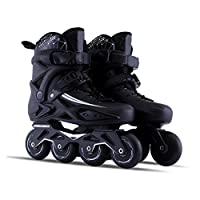 Sljj Outdoor Adult Black Professional Roller Inline Skates, Comfortable Freestyle Racing Skates For Women And Youth (Color : Black, Size : 39 EU/7 US/6 UK/24.5cm JP)
