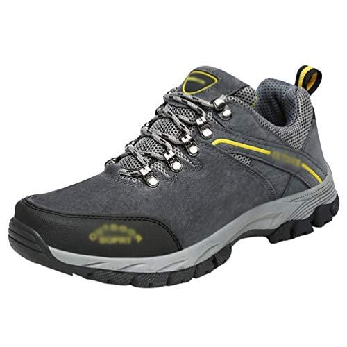 Yuanu Männer Sportschuhe Atmungsaktiv Fitness Turnschuhe Wanderschuhe Rutschfeste Wanderschuhe Stoßdämpfende Schuhe Leichte Laufschuhe Freizeitschuhe Grau 41