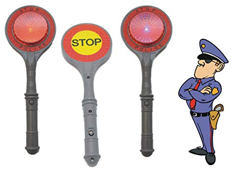 Schnäppchenladen24  Polizeikelle mit Licht Halt/Stop Polizei Kelle Leuchtend für Kinder  (Karneval Im Zusammenhang Kostüm)