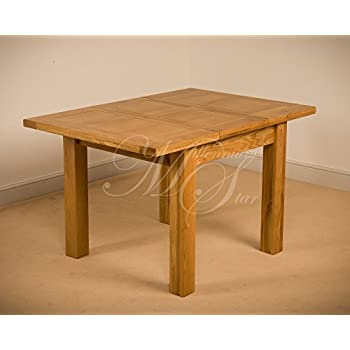 CLOVELLY SOLID WOOD CHUNKY OAK SQUARE SMALL EXTENDING DINING TABLE