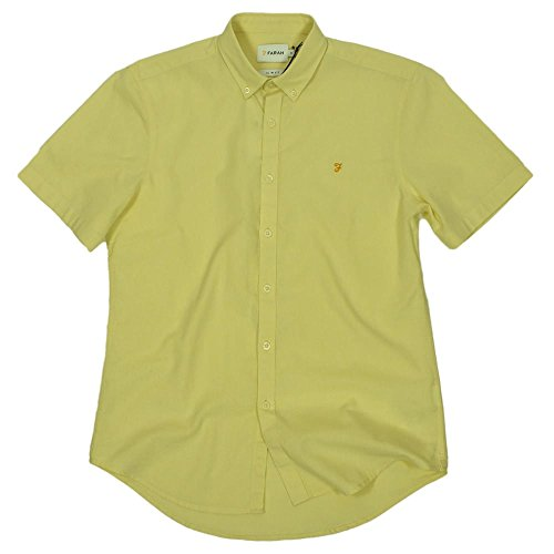 Farah Steen Short Sleeve Oxford Shirt in Pastel Yellow Yellow