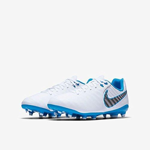 Nike Kinder Fußballschuhe Jr. Tiempo Legend VII FG Nocken Fußball Schuhe AH7254, Größe:30 EU, Farbe:107 White Chrom Hero Blue/Weiß Blau (Rasen-fußball-schuhe Kinder)