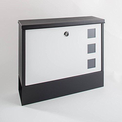 Metzler-Trade Design-Briefkasten aus Edelstahl - mit Zeitungsfach - Farbe: schwarz-weiß - modernes Design - wetterfest und langlebig - widerstandsfähig gegen sämtliche Umwelteinflüsse - Oberfläche in Feinstruktur pulverbeschichtet. Maße: 365x300x100 mm.