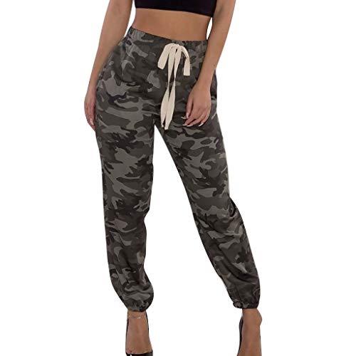 Pantalons Femme Grande Taille Haute Pas Cher Elastique Mode Chic Slim Casual ÉTé Crayon Legging Pants Trousers Longue Camouflage Coton DéContractéE avec Ceinture Wato