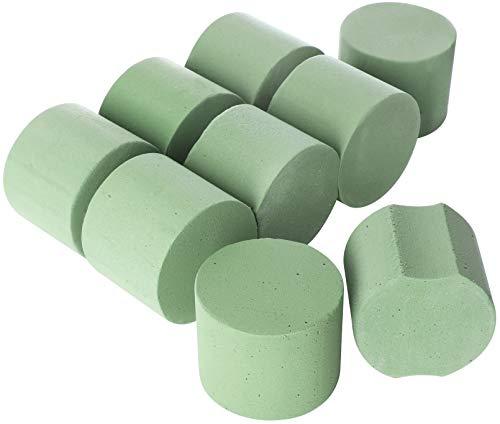 Kleine Schaumstoff-zylinder (COM-FOUR® 9x Steckschaum in Zylinder-Form - Steckmasse für Frischblumen - Ø 7,5 x 6 cm (9 Stück - Zylinder klein))