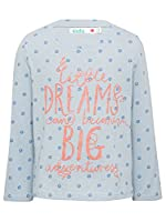 M&Co Girls Pure Cotton Long Sleeve Polka Dot Little Dreams Can Become Big Adventures Slogan Top Pale Blue 7/8 Yr