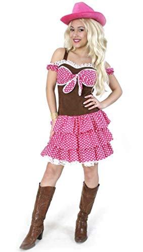 KarnevalsTeufel Damenkostüm-Set Cowgirl Dolly, 2-TLG. Kleid + Hut | Größe 36 - 44 | Wilder Westen, Cowboy, Karneval, Fasching, Mottoparty (44)