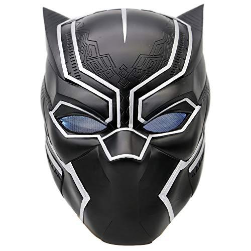 Kostüm Kopf Panther - Schwarz Maske Kostüm Deluxe Halloween Erwachsene Weiches Harz Kopf Voller Helm Cosplay mit Licht
