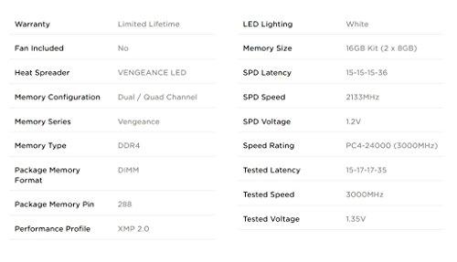 Bargain Corsair CMU16GX4M2C3000C15 Vengeance LED 16GB (2x8GB) DDR4 3000MHz C15 XMP 2.0 Enthusiast LED Illuminated Memory Kit – Black with White LED Lighting on Line