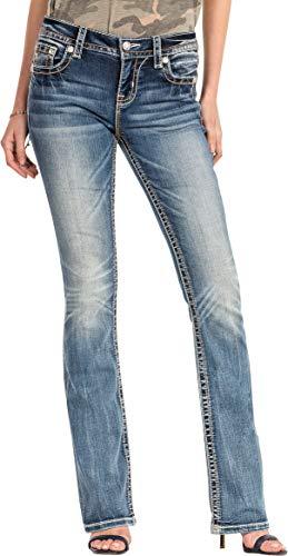 Miss Me - Damen M3178B Geometrische Aztec Mid-Rise Boot Cut Jeans, 26,...
