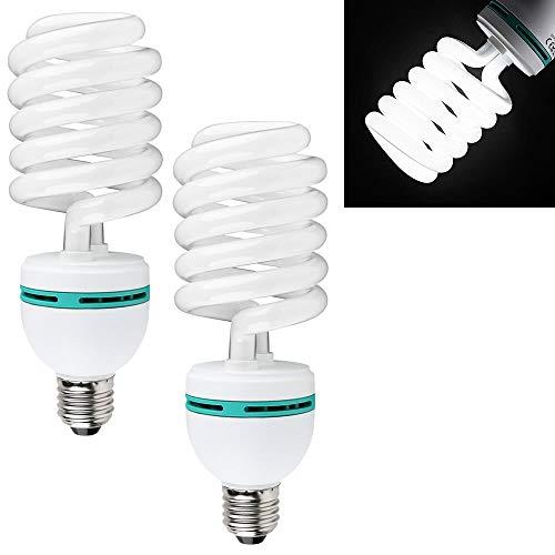 Melko Doppelpack Foto-Licht, 2 Stück Tageslichtlampe für Studioleuchten, Fotolampe, Fotografie Dauerlicht, Foto-Studio Zubehör, E27, 65 Watt