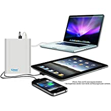 Extra Lizone por super capacidad portátil Batería externa cargador con cuaderno, portátil manzano MacBook Air, MacBook Pro, MacBook, potencia Book y iBook ; HP Compaq Pavilion, Mini, ElifeBook, ProBook, Presario, la envidia y la G; IBM Lenovo ThinkPad E IdeaPad; USB-port para iPad Air, iPad Mini, iPad e iPhone ; Samsung Galaxy Nexus, Moto, G, LG, HTC y más - de aluminio del cuerpo como original MacBook cuerpo (no plástico) - 18 meses de garantía 40000mAh Silber