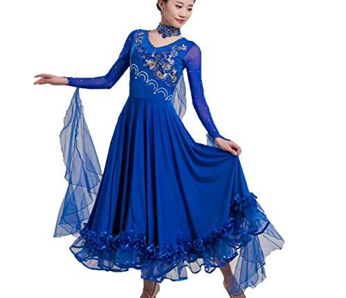 leid für Frauen National Standard Ballsaal Tanz Outfit Walzer Tango glatt Wettbewerb Kleider,Blue,L ()