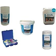 Kit Mantenimiento piscina apertura Verano Dicloro 1kg 56%, Triple Acción 1kg pastillas 200gr, antialga líquido 1lt, PH menos granulado 1,5kg y test PH Bestway