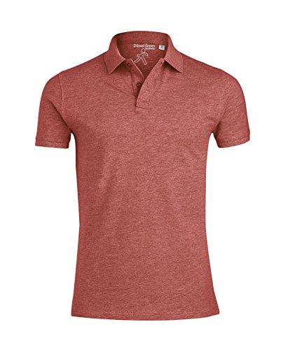 YTWOO Herren Poloshirt Aus Biobaumwolle, Poloshirt Herren Aus Baumwolle (Bio), Polo Shirt Bio, Polohemd Bio. Die Knopfleiste mit Modischen Falten Hell Rot Meliert