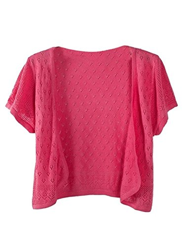 Tailloday Damen Fashion Häkeln Strick kurze Ärmel Cardigan EU Größe 36-38 Wassermelonenrot