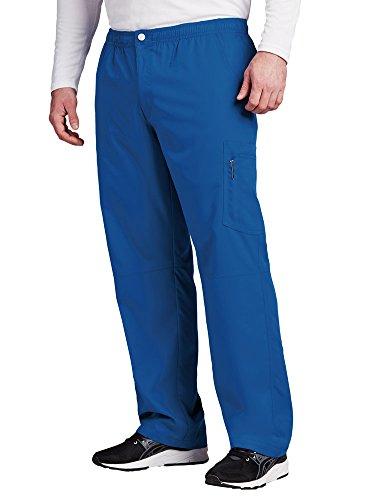 Grey's Anatomy Active Cargohose mit 7 Taschen und Reißverschluss für Herren, Medizinische Peelinghose - Blau - Groß - Barco Scrubs