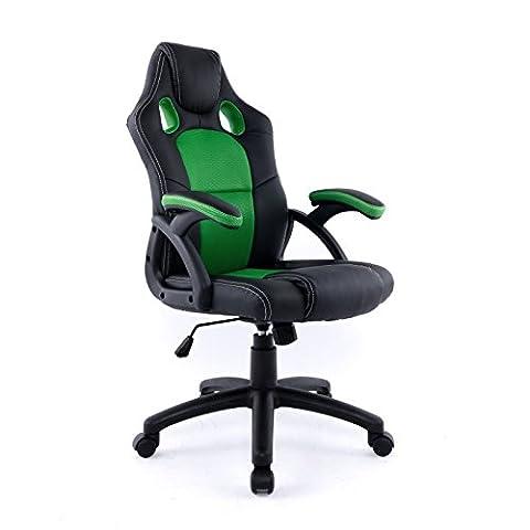 Bürodrehstuhl Gaming Chair Kunstleder Schwarz Textil-Netzgewebe Grün Racing Design Gaming