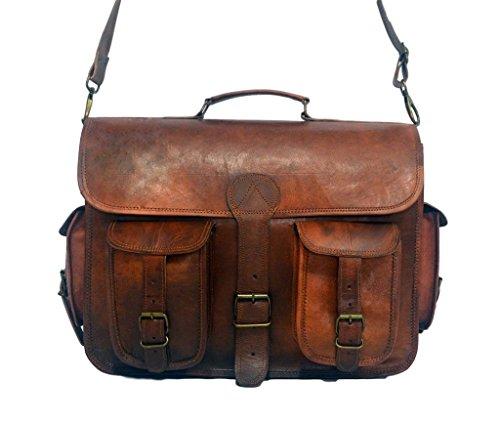 Cl borsa messenger, cartella per laptop e libri in vera pelle per uomini e donne, in stile vintage, fatta a mano, robusta e anticata